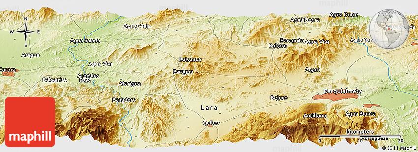 Physical Panoramic Map of Barquisimeto