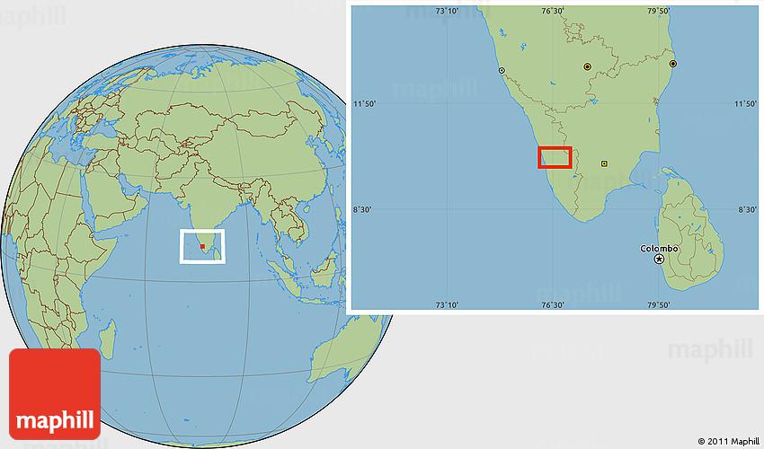 savanna style location map of cochin
