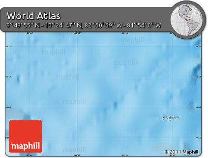 """Physical Map of the Area around 10°7'21""""N,82°22'30""""W"""