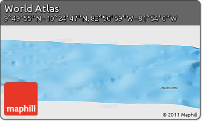 """Physical Panoramic Map of the Area around 10°7'21""""N,82°22'30""""W"""