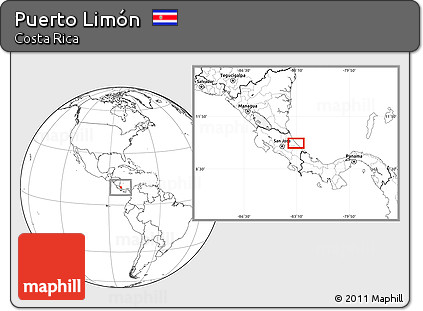 Blank Location Map of Puerto Limón