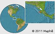 Satellite Location Map of Nicoya