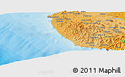 """Political Panoramic Map of the area around 10°7'21""""N,85°46'30""""W"""