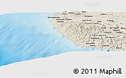 """Shaded Relief Panoramic Map of the area around 10°7'21""""N,85°46'30""""W"""