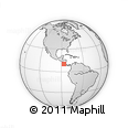 """Outline Map of the Area around 10° 7' 21"""" N, 86° 37' 30"""" W, rectangular outline"""