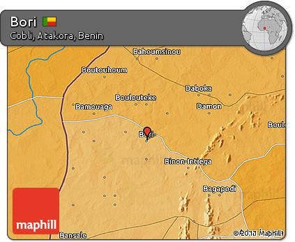 Political 3D Map of Bori