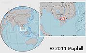 Gray Location Map of Châu Ðốc, hill shading