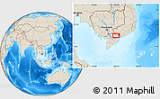 """Shaded Relief Location Map of the area around 10°38'32""""N,106°19'29""""E"""