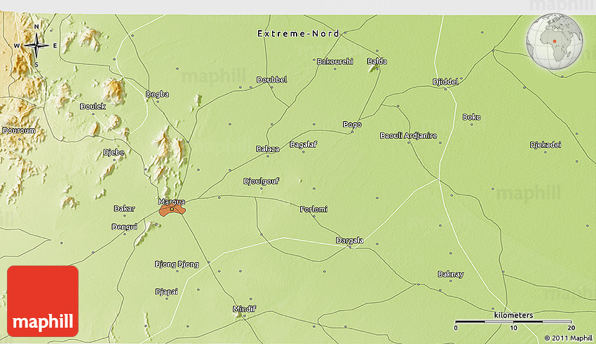 Physical 3D Map of Maroua