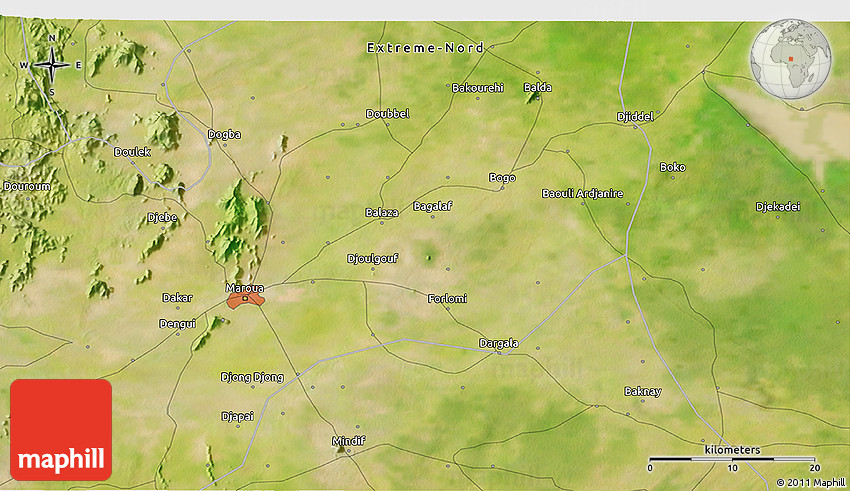 Satellite 3D Map of Maroua