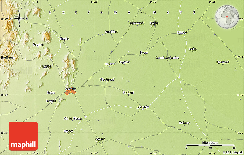 Physical Map of Maroua