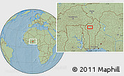 """Savanna Style Location Map of the area around 10°38'32""""N,1°46'29""""E, hill shading"""