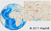 """Shaded Relief Location Map of the area around 10°38'32""""N,1°46'29""""E"""