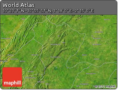 "Satellite Map of the Area around 10°38'32""N,1°46'29""E"