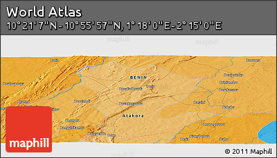 """Political Panoramic Map of the Area around 10°38'32""""N,1°46'29""""E"""
