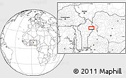 """Blank Location Map of the area around 10°38'32""""N,3°28'30""""E"""
