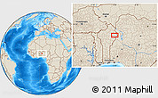 """Shaded Relief Location Map of the area around 10°38'32""""N,3°28'30""""E"""
