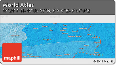 """Political Panoramic Map of the Area around 10°38'32""""N,3°28'30""""E"""