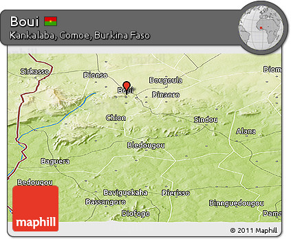 Physical Panoramic Map of Boui