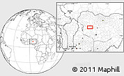 """Blank Location Map of the area around 10°38'32""""N,6°1'30""""E"""