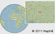 """Savanna Style Location Map of the area around 10°38'32""""N,6°1'30""""E, hill shading"""