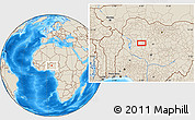 """Shaded Relief Location Map of the area around 10°38'32""""N,6°1'30""""E"""