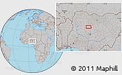 Gray Location Map of Baka