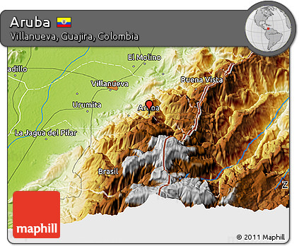 Free Physical D Map Of Aruba - Aruba physical map