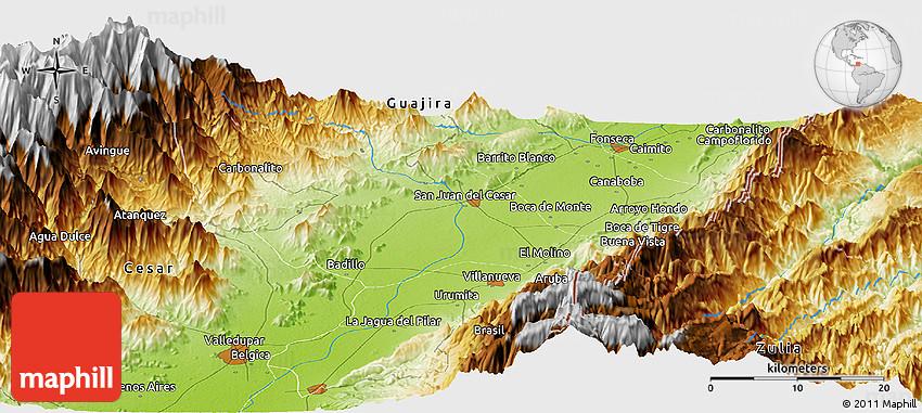 Physical Panoramic Map of Chemesquemena