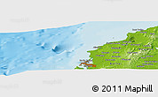 """Physical Panoramic Map of the area around 10°38'32""""N,75°34'29""""W"""