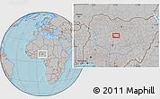 Gray Location Map of Dan Galadima, hill shading