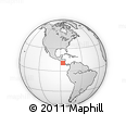 """Outline Map of the Area around 10° 38' 32"""" N, 86° 37' 30"""" W, rectangular outline"""