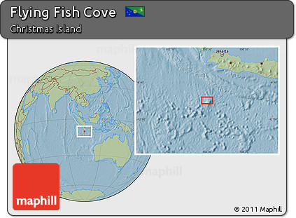 Where Is Christmas Island On A Map.Free Savanna Style Location Map Of Flying Fish Cove Hill