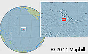 """Savanna Style Location Map of the area around 10°17'43""""S,140°10'30""""W, hill shading"""