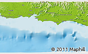 """Physical 3D Map of the area around 10°17'43""""S,148°49'29""""E"""