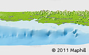 """Physical Panoramic Map of the area around 10°17'43""""S,148°49'29""""E"""