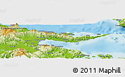 """Physical Panoramic Map of the area around 10°17'43""""S,150°31'30""""E"""
