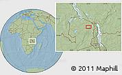 Savanna Style Location Map of Isoka, hill shading