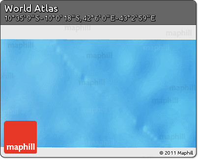 """Shaded Relief 3D Map of the Area around 10°17'43""""S,42°34'30""""E"""