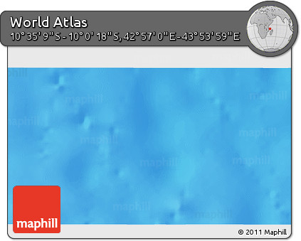 """Shaded Relief 3D Map of the Area around 10°17'43""""S,43°25'29""""E"""