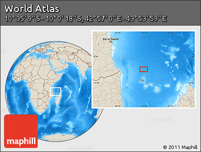 """Shaded Relief Location Map of the Area around 10°17'43""""S,43°25'29""""E"""