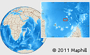 """Shaded Relief Location Map of the area around 10°17'43""""S,45°58'30""""E"""