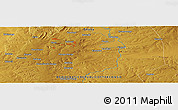 """Physical Panoramic Map of the area around 10°48'54""""S,25°34'30""""E"""