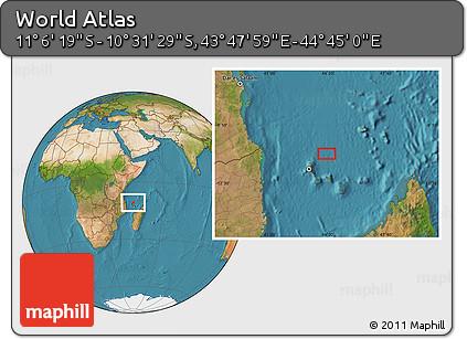 "Satellite Location Map of the Area around 10°48'54""S,44°16'29""E"
