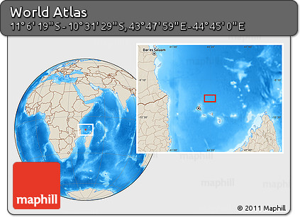 """Shaded Relief Location Map of the Area around 10°48'54""""S,44°16'29""""E"""