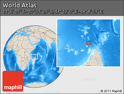 """Shaded Relief Location Map of the Area around 10°48'54""""S,47°40'29""""E"""