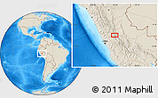 """Shaded Relief Location Map of the area around 10°48'54""""S,75°34'29""""W"""
