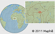 Savanna Style Location Map of Bawku, hill shading