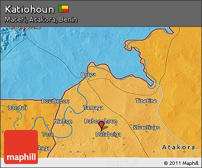 Political 3D Map of Katiohoun