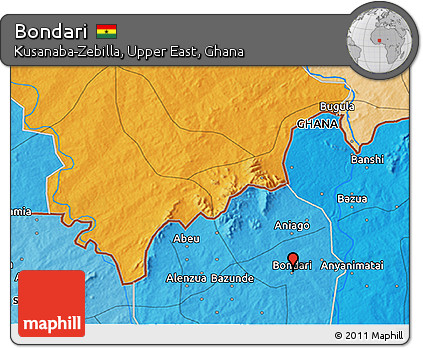 Political 3D Map of Bondari